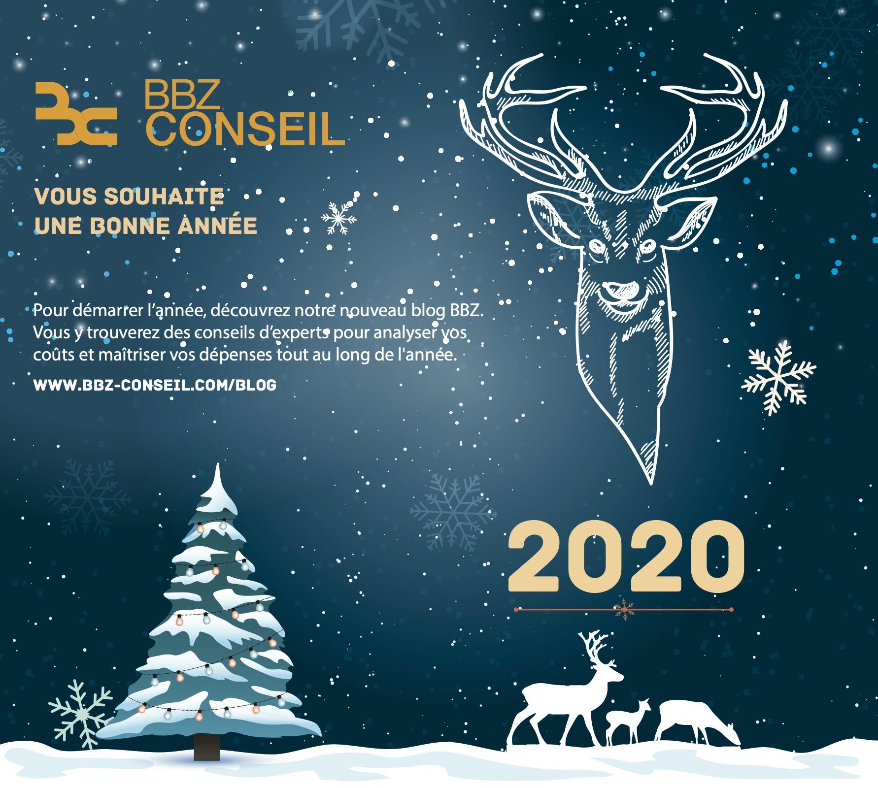 Carte de Voeux 2020 cerf blanc, BBZ cosneil